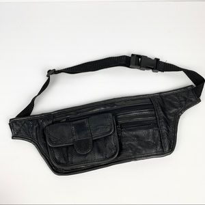 Vintage 90's Black Leather Patchwork Fanny Pack